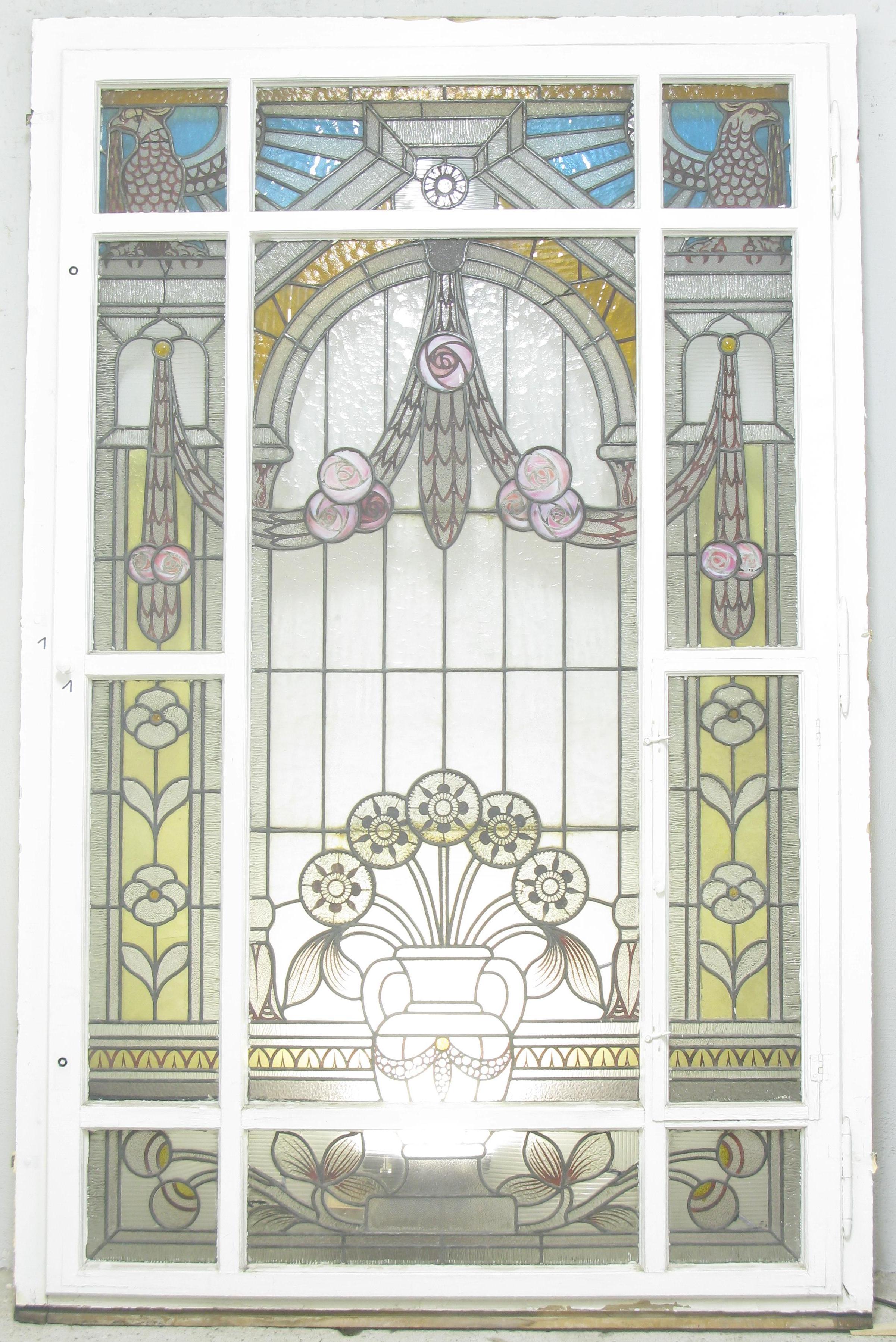 Historische Bauelemente Marwitz treppenhausfenster jugendstil mit schöner bleiverglasung
