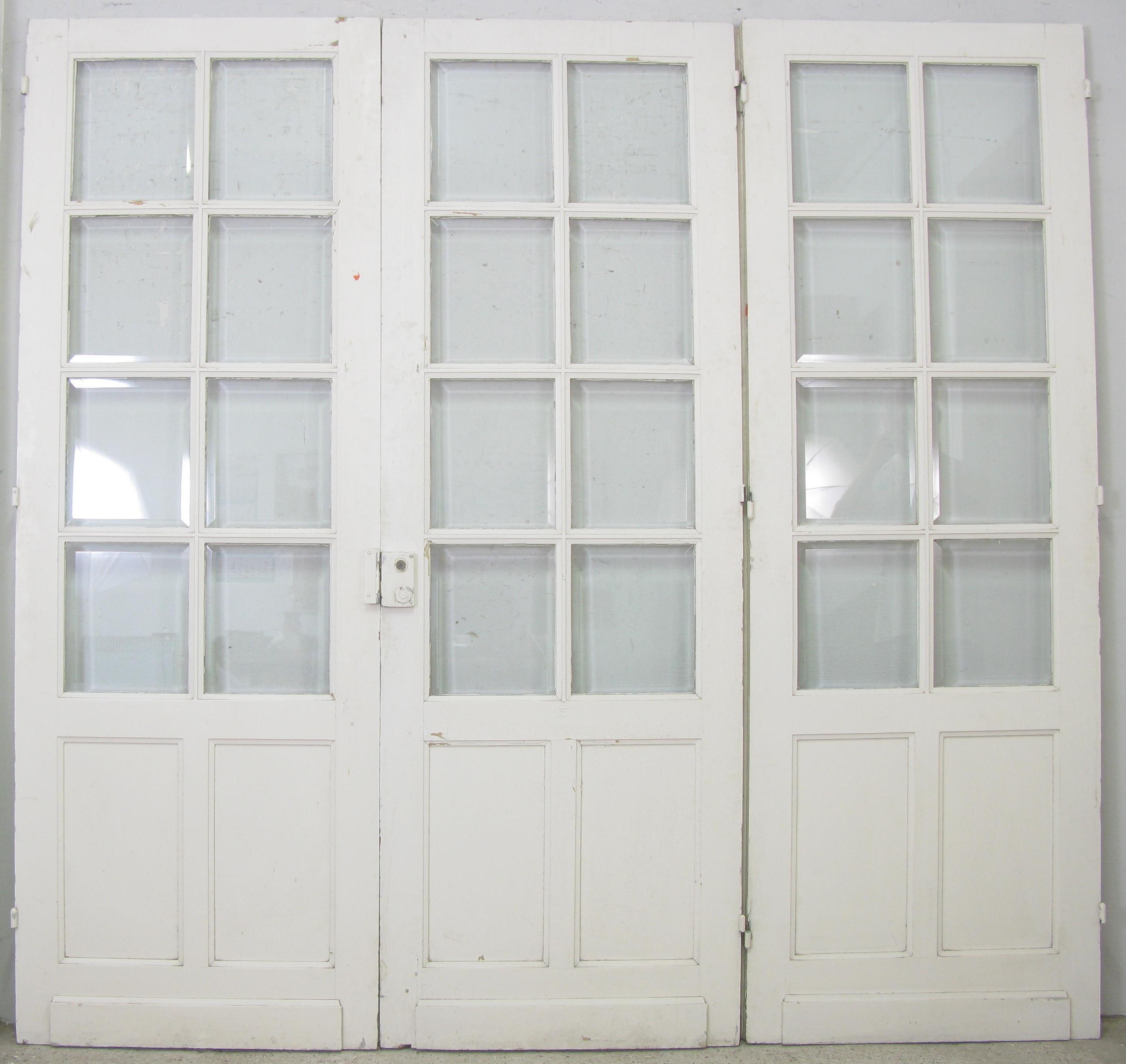 3 fl gelige franz sische fl gelt r jugendstil mit facettenschliff glas historische. Black Bedroom Furniture Sets. Home Design Ideas